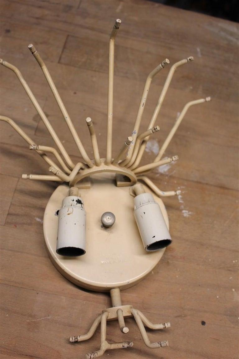 Great sconce Venini Cannucce straws 1960 transparent glass 1960 marked Italian. 2 light bulbs E14 max 40 Watt each.
