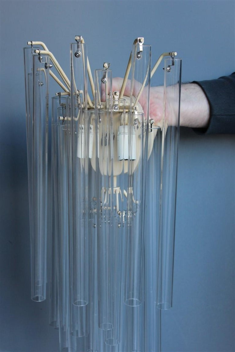 Great Sconce Venini Cannucce Straws 1960 Transparent Glass 1960 Marked Italian In Good Condition For Sale In Palermo, Sicily