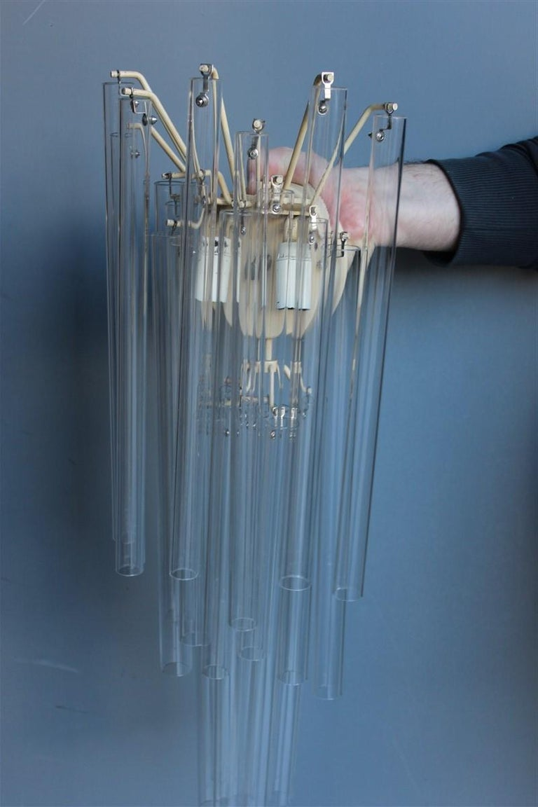 Mid-20th Century Great Sconce Venini Cannucce Straws 1960 Transparent Glass 1960 Marked Italian For Sale
