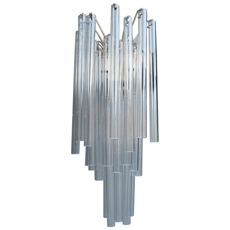 Great Sconce Venini Cannucce Straws 1960 Transparent Glass 1960 Marked Italian For Sale
