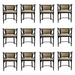 Great Set of 12 Armchairs by Thonet, Austria Josef Hoffmann Design