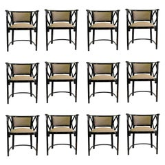 Great Set of 12 Armchairs by Thonet, Austria Josef Hoffmann Design