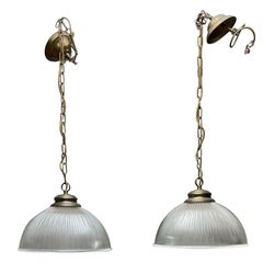 Great Set of Four Midcentury Brass and Glass Holophane Style Pendant Lights