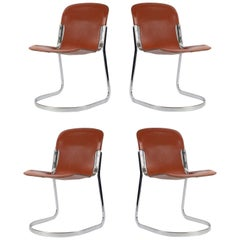 Great Set of Four Stackable Chairs by Willy Rizzo for Cidue, Italy, 1970s