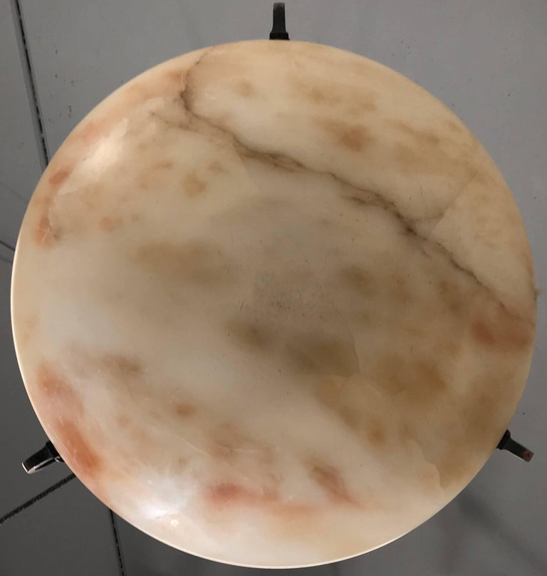 Great Shape Art Deco Alabaster Pendant or Ceiling Lamp Warm and Colorful  For Sale 10
