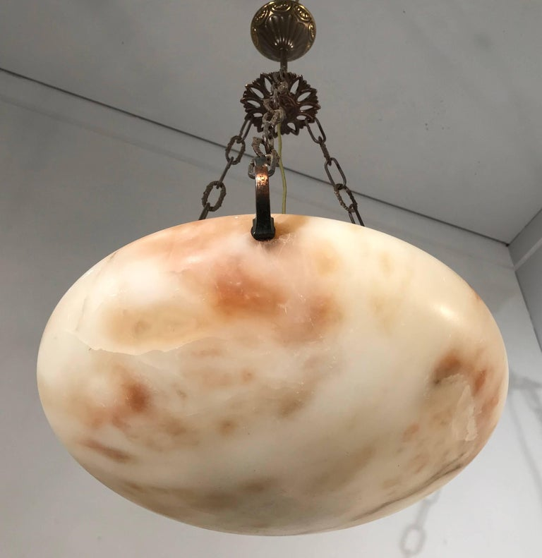 Italian Great Shape Art Deco Alabaster Pendant or Ceiling Lamp Warm and Colorful  For Sale