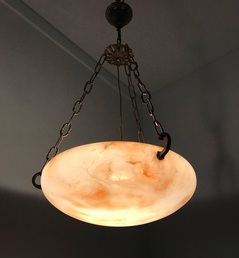 Great Shape Art Deco Alabaster Pendant or Ceiling Lamp Warm and Colorful  In Excellent Condition For Sale In Lisse, NL
