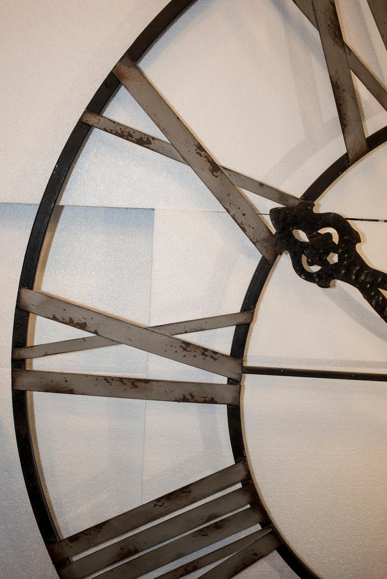 20th Century Black French Skeleton Clock in Aged Forging Iron For Sale 6