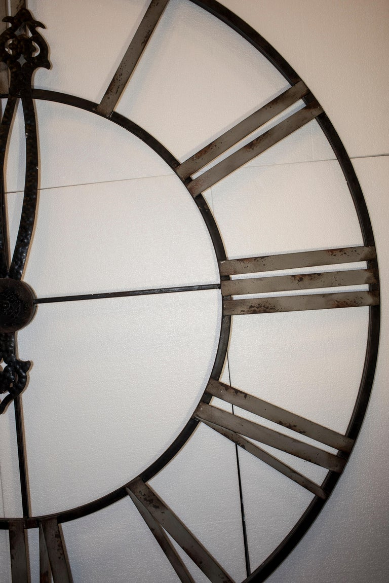 20th Century Black French Skeleton Clock in Aged Forging Iron For Sale 9