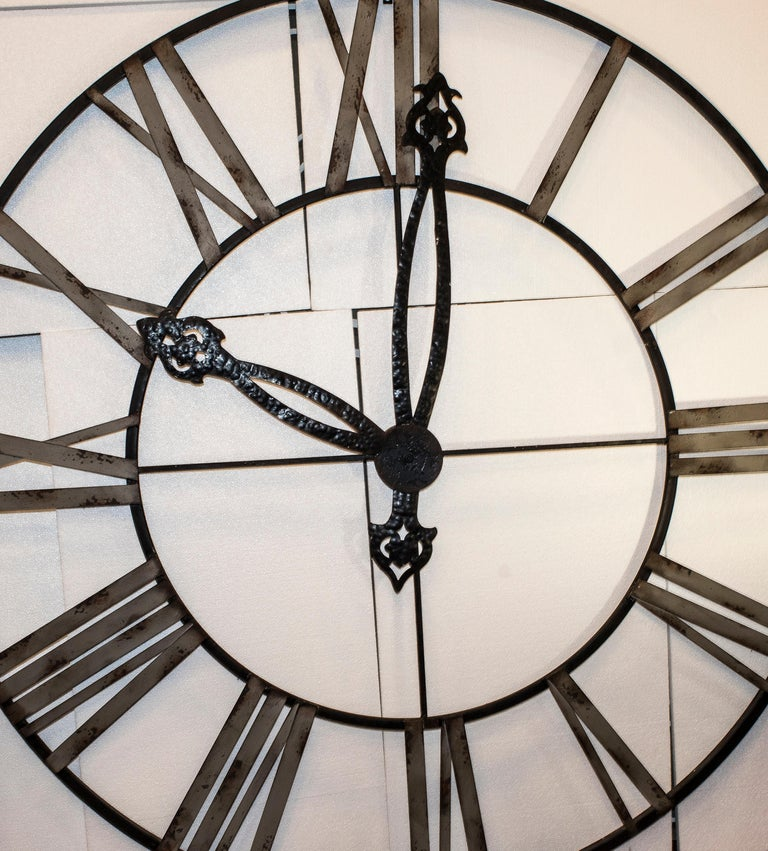Louis XVI  20th Century Black French Skeleton Clock in Aged Forging Iron For Sale