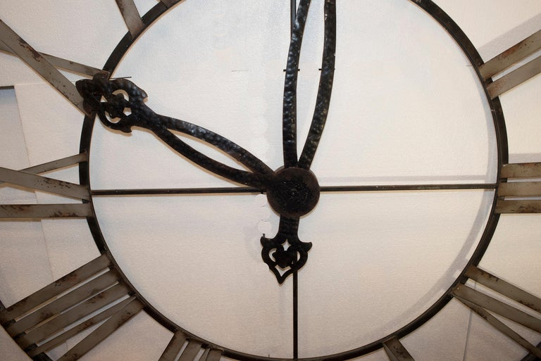 Forged  20th Century Black French Skeleton Clock in Aged Forging Iron For Sale