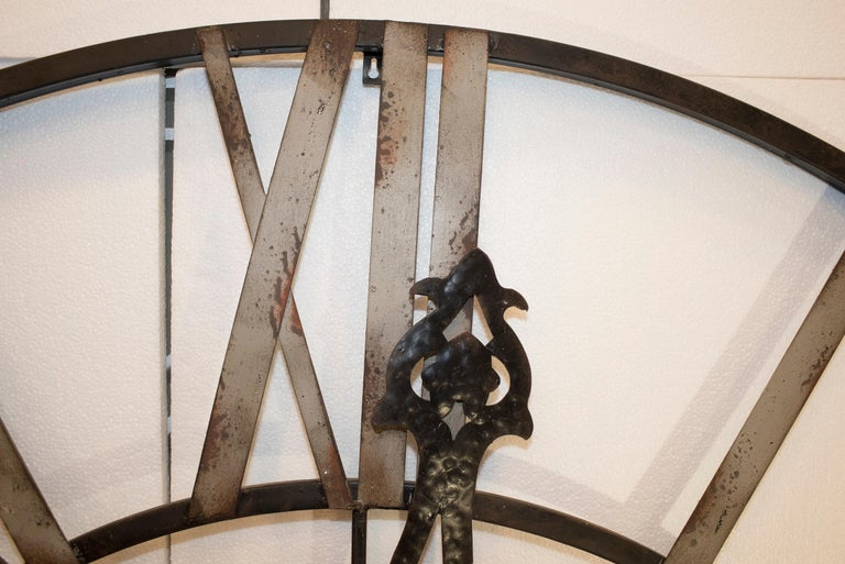 20th Century Black French Skeleton Clock in Aged Forging Iron In Good Condition For Sale In Valladolid, ES