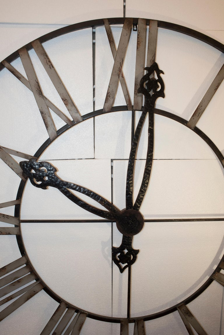 Late 20th Century  20th Century Black French Skeleton Clock in Aged Forging Iron For Sale