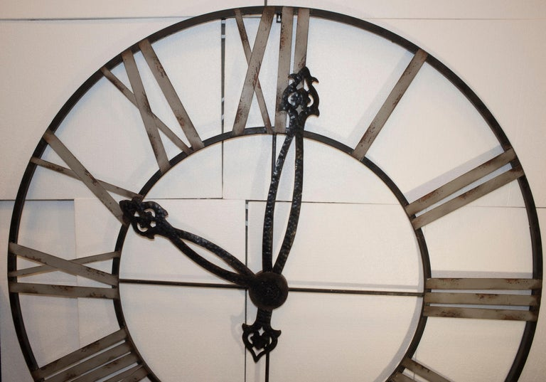 20th Century Black French Skeleton Clock in Aged Forging Iron For Sale 2