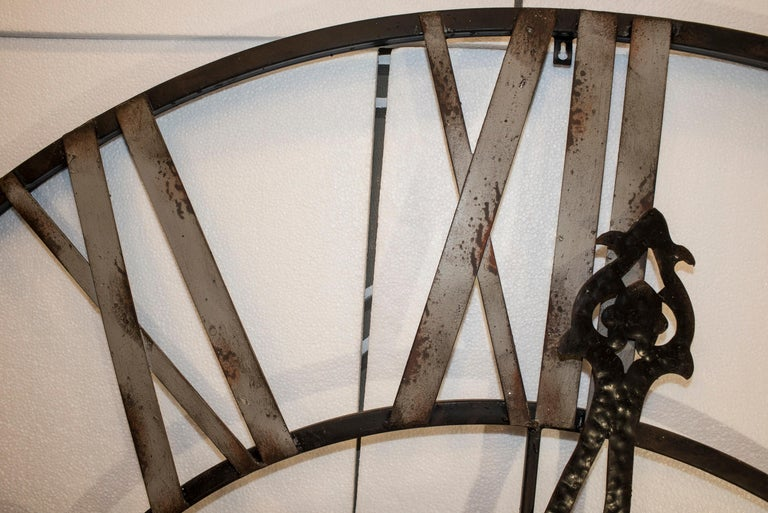 20th Century Black French Skeleton Clock in Aged Forging Iron For Sale 3