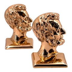 Great & Unique Rose Brass Plated Solid Cast Iron Pair of Lincoln Bookends