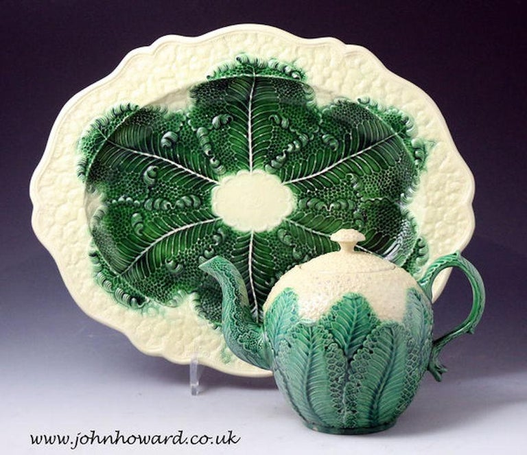 Ceramic Greatback, Whieldon, Wedgwood Pottery Cauliflower Oval Dish, Mid-18th Century For Sale
