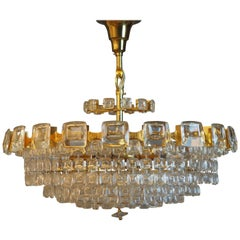 Great Six-Tiered Gilt Brass and Lens Glass Chandelier by Palwa, circa 1970s