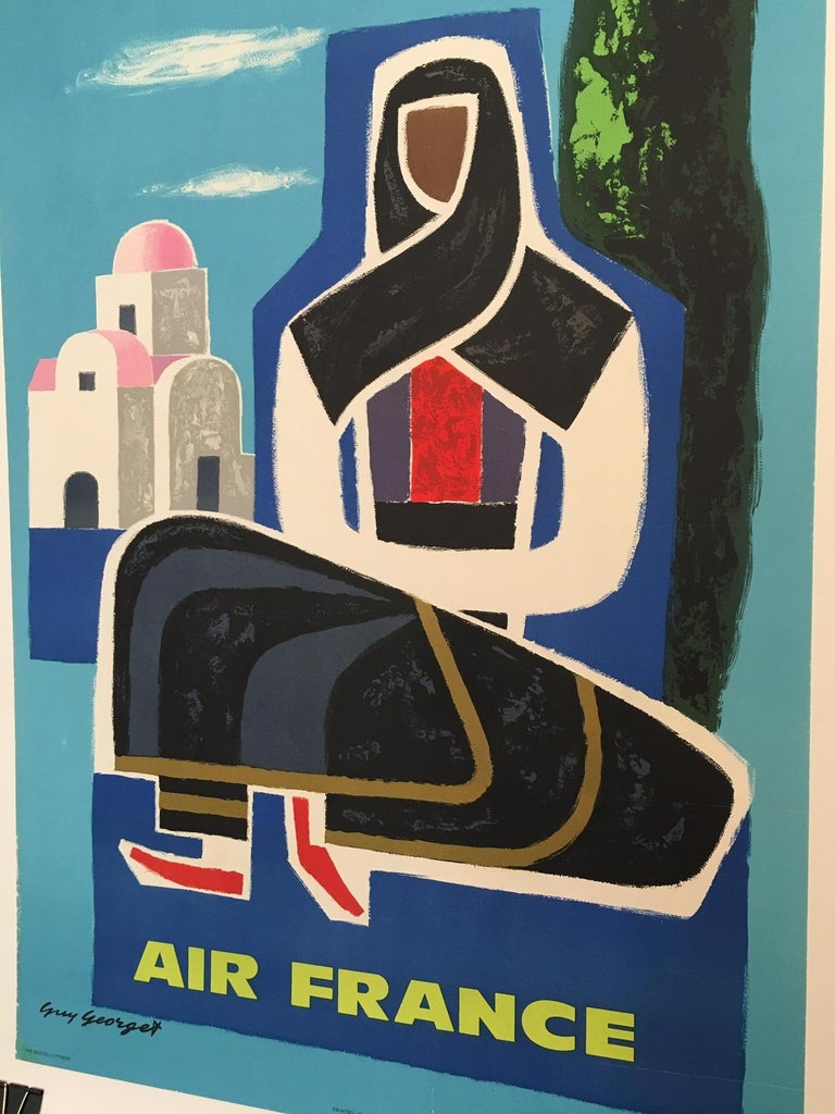 International Style 'Grece Air France' Guy Georget, Mid-20th Century Original Vintage Travel Poster For Sale