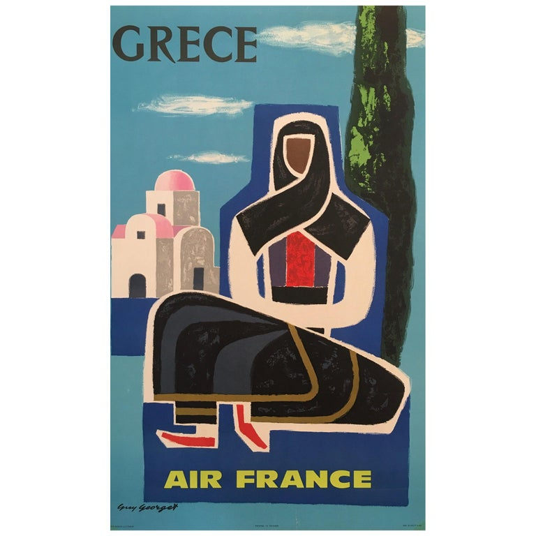 'Grece Air France' Guy Georget, Mid-20th Century Original Vintage Travel Poster For Sale
