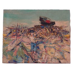 Grecian Acrylic Impasto Seascape on Canvas