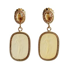 Grecian Goddess Intaglios Citrine Post Earrings, Boccadasse Earrings