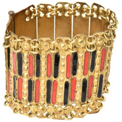 Grecian Gold Plated Metal and Enamel Cuff Bracelet Vintage