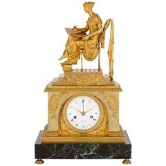 Grecian Style Napoleonic Gilt Bronze and Marble Mantel Clock