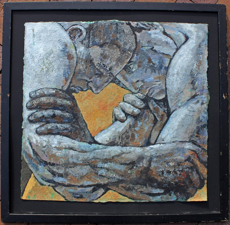 Mid-Century Modern Greco Roman Classical Wrestlers Oil Painting For Sale