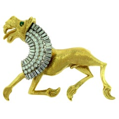 Greco-Roman Griffin Brooch Pin with Diamonds and Emeralds in Yellow Gold