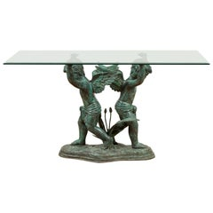 Greco-Roman Style Contemporary Bronze Double Cherub Dining Table Base