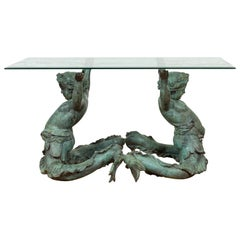 Greco Roman Style Contemporary Bronze Double Triton Dining Table Base, No Top
