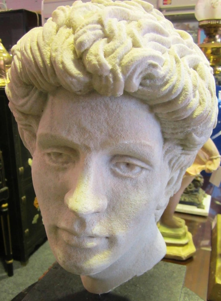 Greco-Roman style faux marble head, on a granite base, Created by Gold Coast sculptor Martin Russell. Weighs: 29kg.