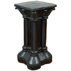 Greco-Roman Style Vintage Bronze Pedestal Base with Palmettes and Demi-Columns