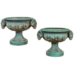 Greco Roman Style Vintage Verde Patina Bronze Urns with Rams' Heads, Sold Each