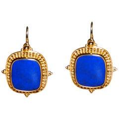 Greek 18 Karat Yellow Gold Lapis Lazuli Dangle Earrings