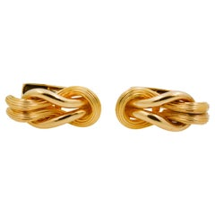 Greek 18 Karat Yellow Gold Square Knot Cufflinks