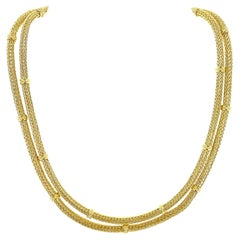 Greek 18 Karat Yellow Gold Woven Two Row Vintage Necklace Signed Alexandros