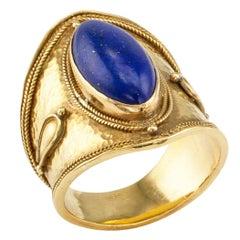 Greek 22 Karat Gold Lapis Lazuli Ring