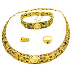 Greek Alexander Sapphire Emerald Ruby Diamond Gold Necklace Bracelet Ring Suite