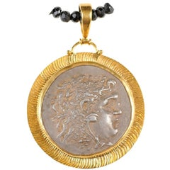 Greek Alexander the Great Silver Coin Necklace in 22-Karat Gold Bezel