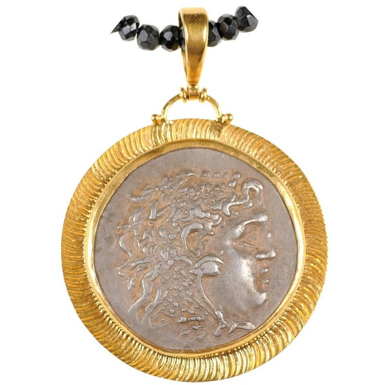 Greek Alexander the Great Silver Coin Necklace in 22-Karat Gold Bezel