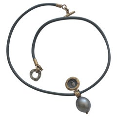 Greek Antique Silver Coin Tahitian Pearl 22K-21K Gold Pendant Choker Necklace