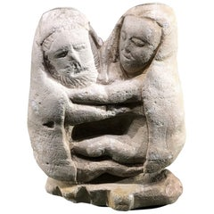 "Greek archaic limestone sculpture representing ""Zeus's wedding"""