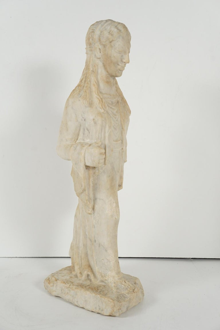 Greek Archaistic Style Carved Marble Figure 2