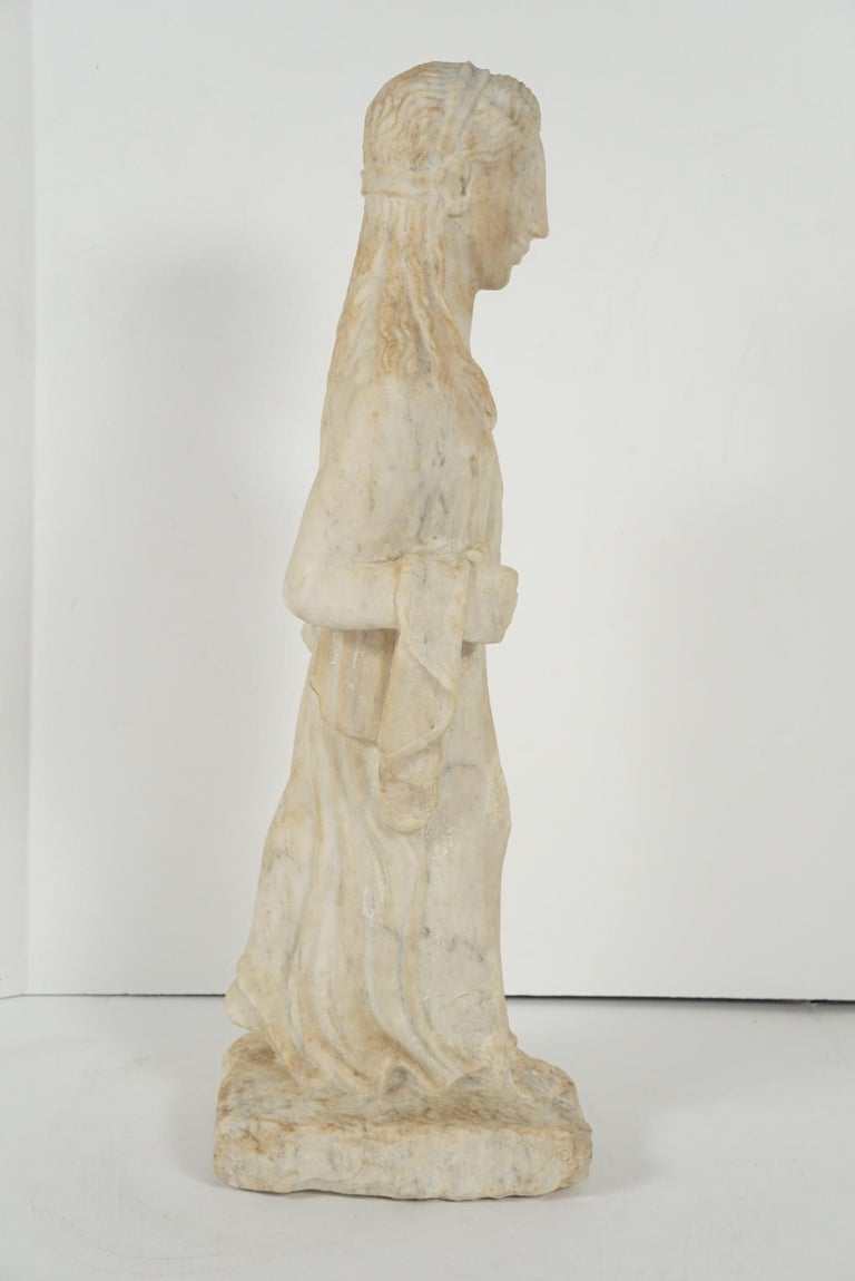 Greek Archaistic Style Carved Marble Figure 3