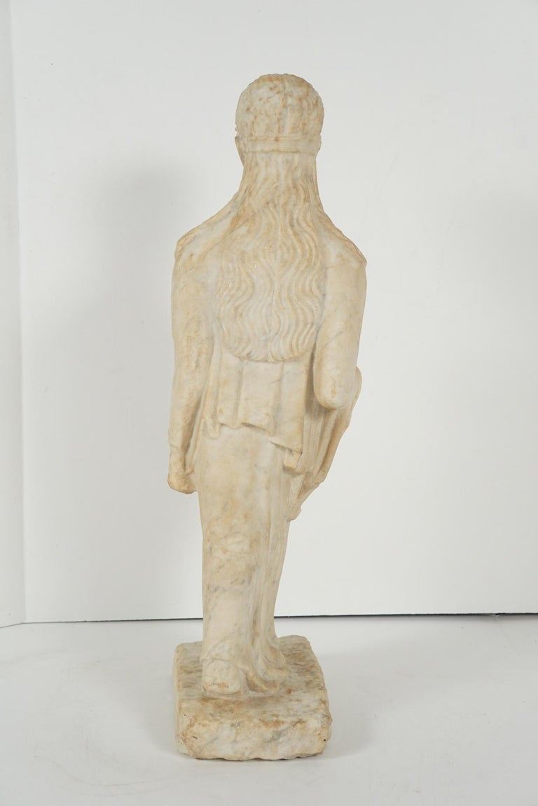 Greek Archaistic Style Carved Marble Figure 4