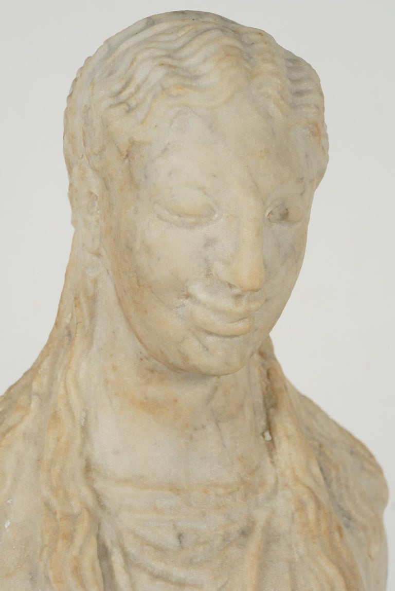 Greek Archaistic Style Carved Marble Figure 5