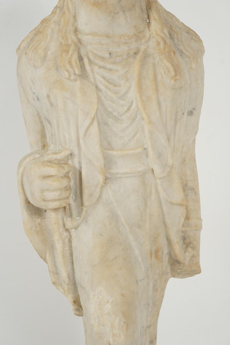 Greek Archaistic Style Carved Marble Figure 6