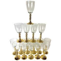 Greek Bacchus Gold Wine Glasses or Water Goblets